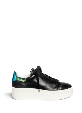 Main View - Click To Enlarge - Ash - 'Cult' holographic trim leather flatform sneakers