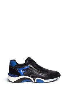 ASH'Hop' suede leather lamé zip sneakers