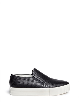 Main View - Click To Enlarge - Ash - 'Kurt' perforation leather skate slip-ons