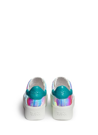 Back View - Click To Enlarge - Ash - 'Cult' holographic leather flatform sneakers