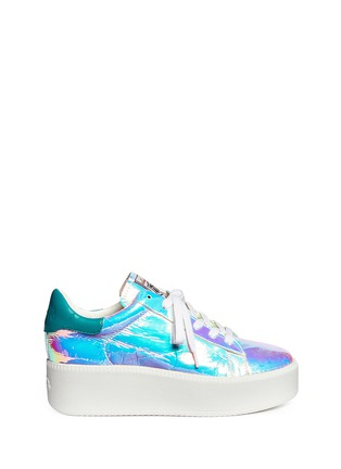 Main View - Click To Enlarge - Ash - 'Cult' holographic leather flatform sneakers