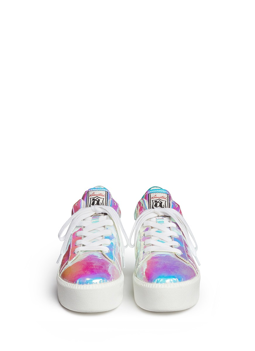 Ash Cult Holographic Leather Flatform Sneakers On