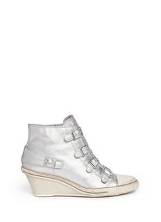 ASH'Genial' metallic leather strap sneakers