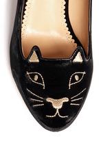 丝绒猫脸高跟鞋