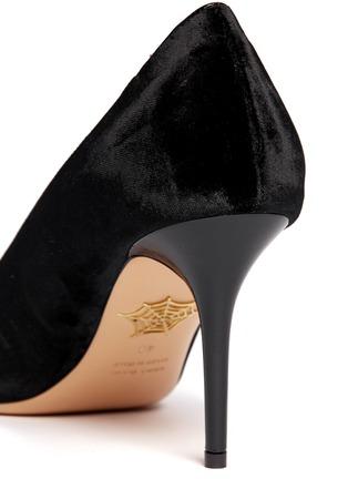 细节 - 点击放大 - CHARLOTTE OLYMPIA - 丝绒猫脸高跟鞋