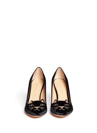 模特儿示范图 - 点击放大 - CHARLOTTE OLYMPIA - 丝绒猫脸高跟鞋