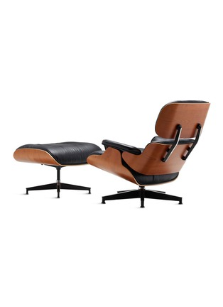 - Herman Miller - Eames leather walnut wood lounge chair and ottoman