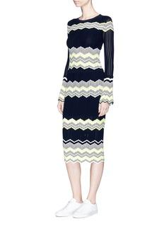 Comme MoiZigzag stripe knit midi skirt