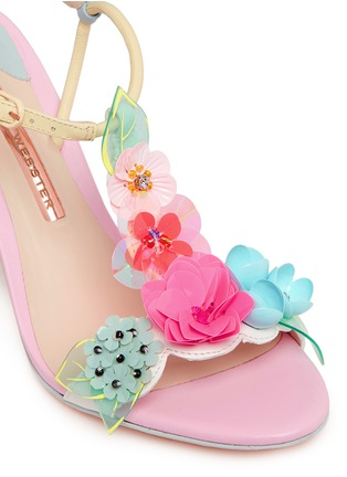 Detail View - Click To Enlarge - Sophia Webster - 'Lilico' sequin floral T-bar leather sandals