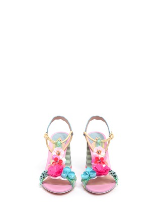 Front View - Click To Enlarge - Sophia Webster - 'Lilico' sequin floral T-bar leather sandals