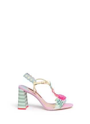 Main View - Click To Enlarge - Sophia Webster - 'Lilico' sequin floral T-bar leather sandals