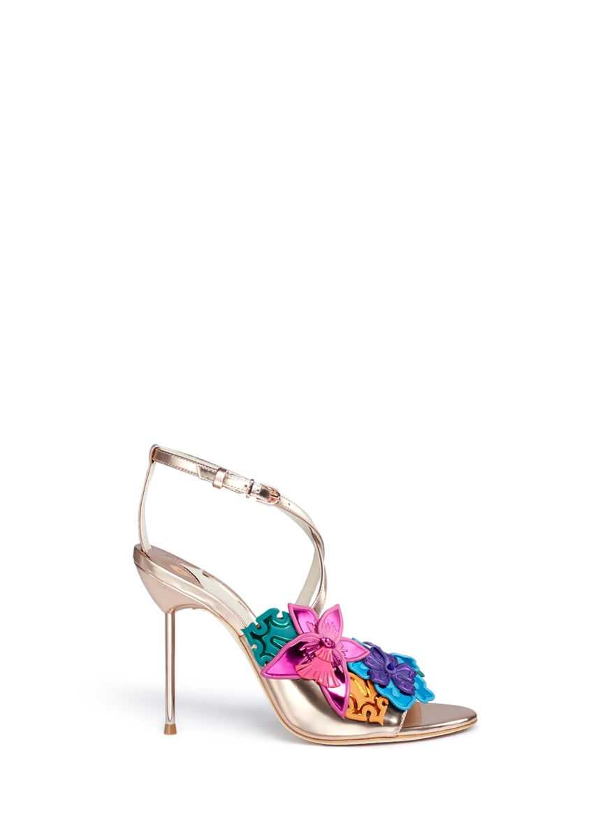 Hula flower embellished mirror leather sandals by Sophia Webster