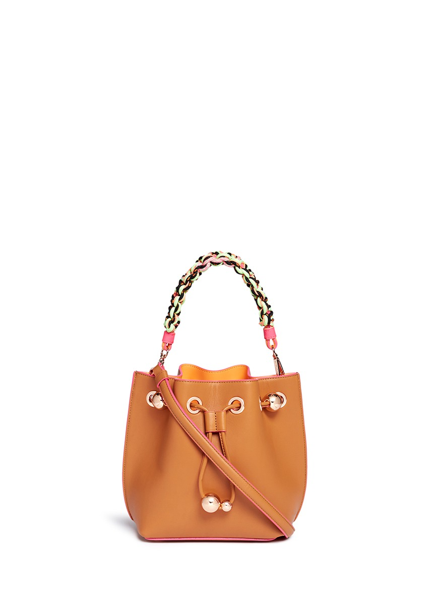 Romy mini braided handle leather bucket bag by Sophia Webster