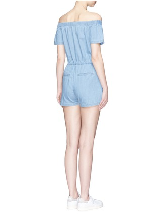 Back View - Click To Enlarge - 3x1 - 'Clark' chambray off-shoulder rompers