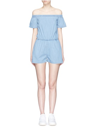 Main View - Click To Enlarge - 3x1 - 'Clark' chambray off-shoulder rompers