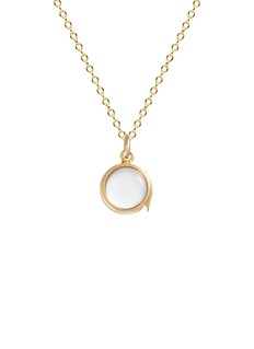 Loquet London14k yellow gold rock crystal round locket – Small 12mm