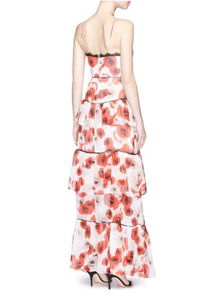 Back View - Click To Enlarge - Nicholas - Floral print tiered ruffle silk gown