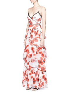 Nicholas Floral print tiered ruffle silk gown