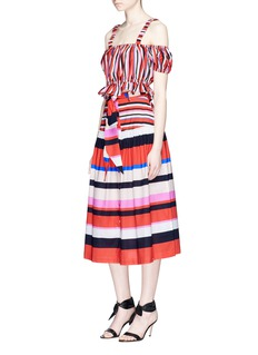 Nicholas Belted stripe cotton midi skirt