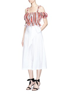 Nicholas'Rosie' amalfi stripe cropped cold shoulder top