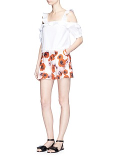 Nicholas Poppy floral print tuck front shorts
