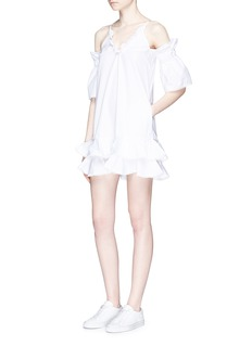 NicholasRuffle cold shoulder cotton poplin dress
