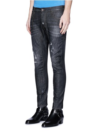 Front View - Click To Enlarge - Dsquared2 - 'Tidy Biker' ripped skinny jeans