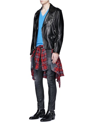 Figure View - Click To Enlarge - Dsquared2 - 'Tidy Biker' ripped skinny jeans
