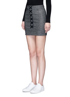 Neil Barrett Lace-up front virgin wool tweed skirt