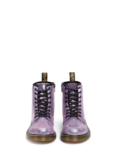 Dr. Martens 'Delaney' metallic oil slick leather kids boots