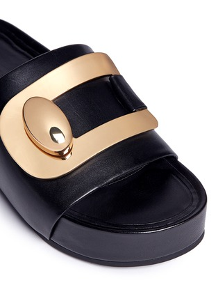Detail View - Click To Enlarge - Stella Luna - Turnlock buckle leather platform slide sandals
