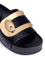Turnlock buckle leather platform slide sandals