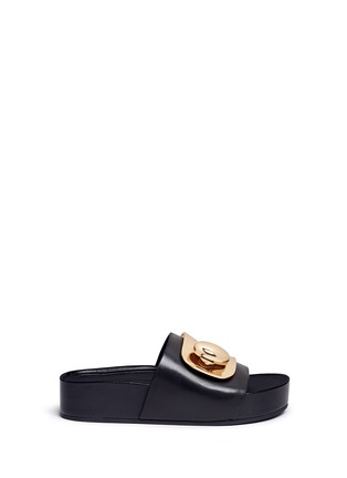 Main View - Click To Enlarge - Stella Luna - Turnlock buckle leather platform slide sandals