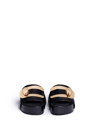Figure View - Click To Enlarge - Stella Luna - Turnlock buckle leather platform slide sandals