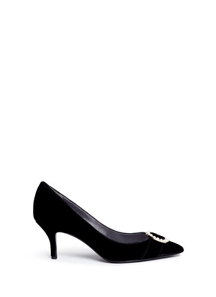 Stella Luna - Faux pearl metal ring velvet pumps