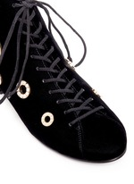 Faux pearl metal eyelet velvet lace-up boots