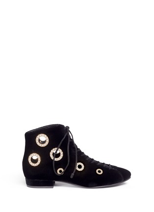 Main View - Click To Enlarge - Stella Luna - Faux pearl metal eyelet velvet lace-up boots
