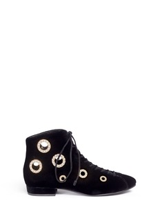 STELLA LUNAFaux pearl metal eyelet velvet lace-up boots