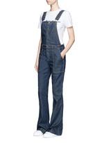 'The Clean Flare' dark wash denim overalls