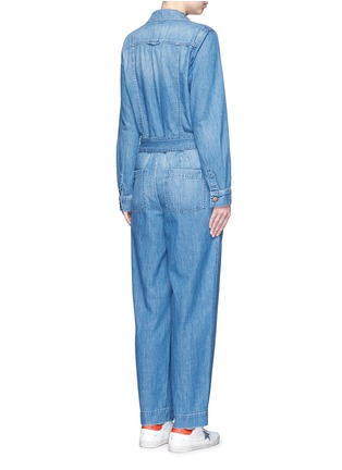 Back View - Click To Enlarge - Current/Elliott - 'The Whitney Coverall' patchwork denim belted overalls