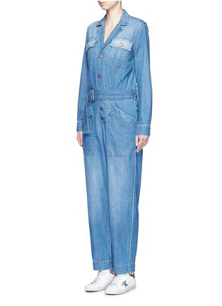 Front View - Click To Enlarge - Current/Elliott - 'The Whitney Coverall' patchwork denim belted overalls