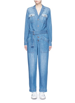 Main View - Click To Enlarge - Current/Elliott - 'The Whitney Coverall' patchwork denim belted overalls