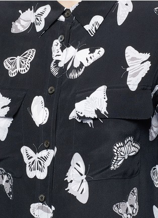 Detail View - Click To Enlarge - Equipment - 'Slim Signature' butterfly print silk shirt
