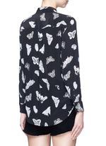 'Slim Signature' butterfly print silk shirt
