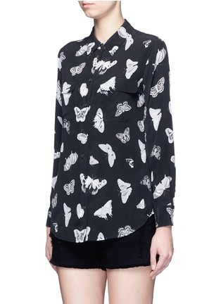 Front View - Click To Enlarge - Equipment - 'Slim Signature' butterfly print silk shirt