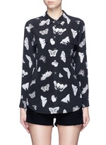 'Slim Signature' butterfly print silk shirt