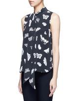 'Poppy' butterfly print neck tie silk shirt