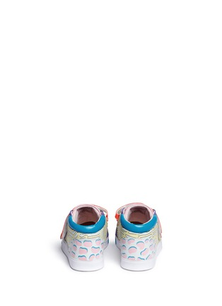Back View - Click To Enlarge - Sophia Webster - 'Riley' mix tropical print mid top toddler sneakers