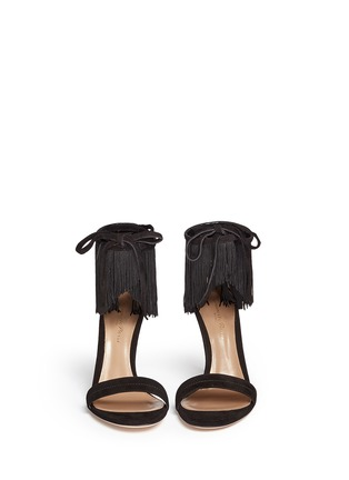 Front View - Click To Enlarge - Gianvito Rossi - 'Olivia' fringe cuff suede sandals