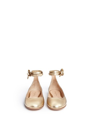 Front View - Click To Enlarge - Gianvito Rossi - 'Carla' ankle tie metallic leather ballerina flats